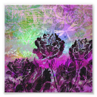 Pretty Abstract Violet Pastel Grunge Roses Photograph