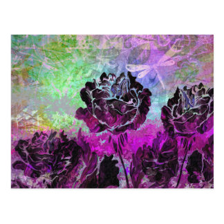 Pretty Abstract Violet Pastel Grunge Roses Postcard
