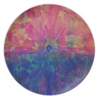 Pretty Abstract Watercolor Colourful Tie Dye Plate