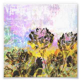 Pretty Abstract Yellow and Lavender Roses Art Photo