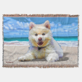 Pretty Adorable Small Puppy Drawing Throw Blanket