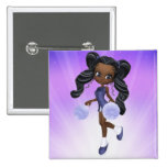Pretty African American Cheerleader Button