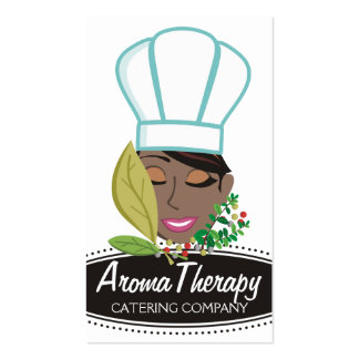 Pretty African American woman chef herbs Business Card Template
