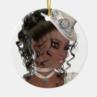 Pretty African American Woman Round Ceramic Decoration