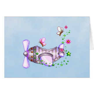 Pretty Airplane Pixel Art Card