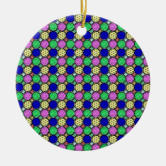 Pretty and colourful design round ceramic decoration