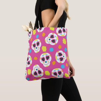 Pretty and Cute Sugar Skulls on Pink Tote Bag