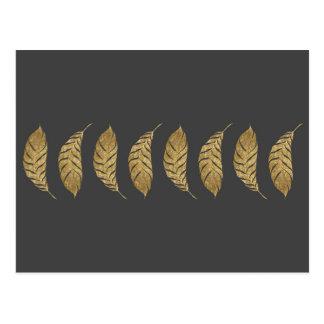 Pretty and Swanky Faux Gold Leaf Stripe on Black Postcard