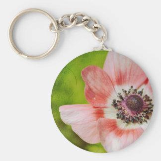 Pretty Anemone Flower Pink Basic Round Button Key Ring