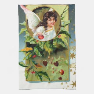 Pretty Angel With Holly Tea Towel