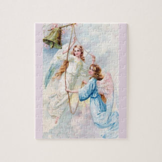 Pretty Angels With Bell Jigsaw Puzzle