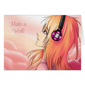Pretty Anime girl at sunset Greeting Card