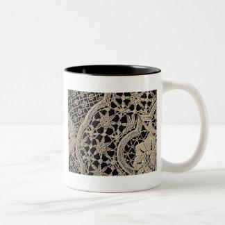 Pretty Antique Zele Lace Two-Tone Coffee Mug