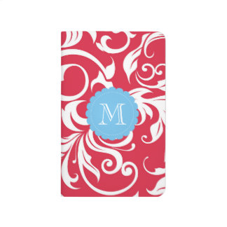 Pretty Apple Red Blue Floral Swirl Monogram Journal
