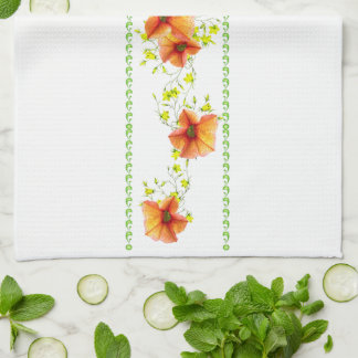 Pretty Apricot Flowers Tea Towel