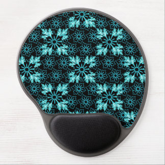 Pretty Aqua and Black Abstract Floral Pattern Gel Mouse Pad