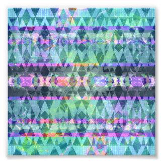 Pretty Aqua and Lavender Tribal Bohemian Pattern Photo Art