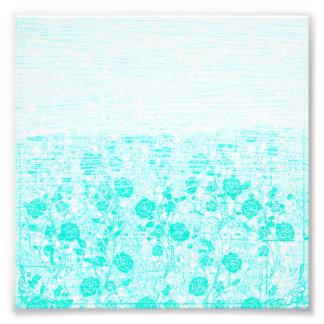Pretty Aqua and White Rose Vine Texture Photograph