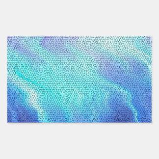 Pretty Aqua Blue Purple Pastel Mosaic Tiles Rectangle Stickers