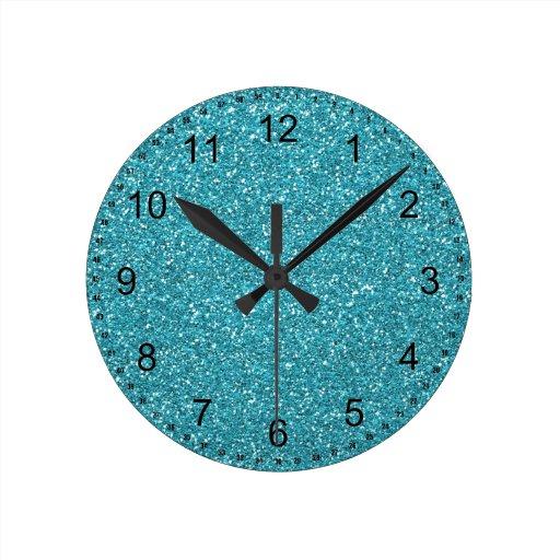 Pretty Aqua Blue Sparkly Faux Glitter Clock