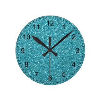 Pretty Aqua Blue Sparkly Faux Glitter Round Clock