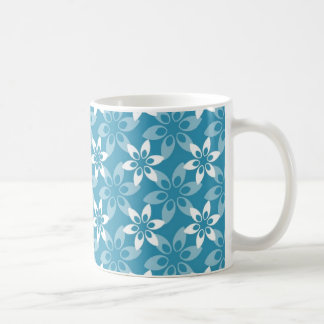 Pretty Aqua Floral Basic White Mug