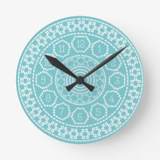 Pretty Aqua Nordic Jumper Cross Stitch Wall Clock