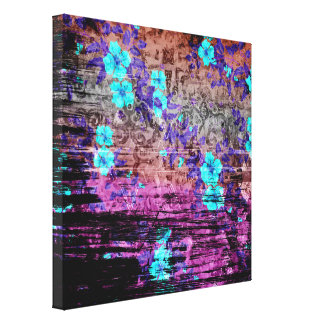 Pretty Aqua Purple Gray Floral Grunge Canvas Print