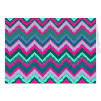Pretty Aqua Teal Blue Pink Tribal Chevron Zig Zags Card