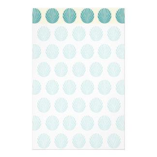 Pretty Aqua Teal Blue Shell Beach Pattern Gifts Stationery