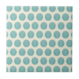 Pretty Aqua Teal Blue Shell Beach Pattern Gifts Tile