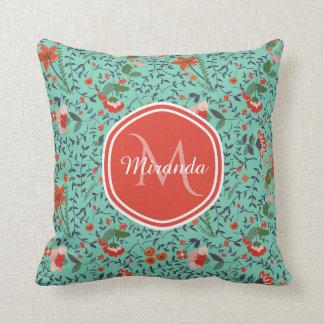 Pretty Aquamarine Orange and Red Floral Monogram Cushion