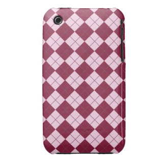 Pretty Argyle Plaid Pattern in Shades of Pink iPhone 3 Case