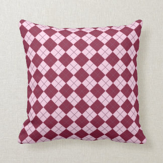 Pretty Argyle Plaid Pattern in Shades of Pink Cushion