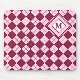 Pretty Argyle Plaid Pattern in Shades of Pink Mouse Pad
