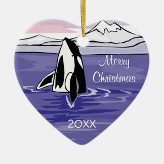 pretty artic orca scene christmas ornament