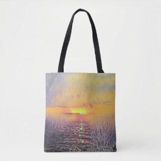 Pretty Artistic Painted Seascape Sunrise Tote Bag