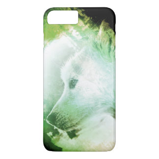 Pretty Artistic Wolf Pup Face Green and White iPhone 7 Plus Case