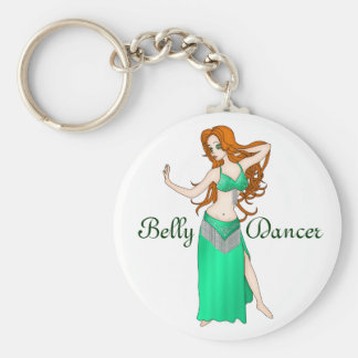 Pretty Auburn Haired Belly Dancer in Green Basic Round Button Key Ring