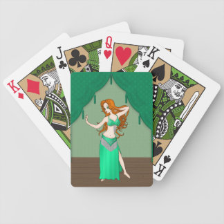 Pretty Auburn Haired Belly Dancer in Green Bicycle Playing Cards