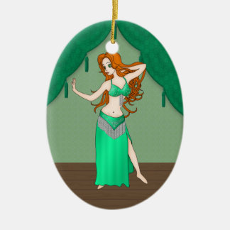 Pretty Auburn Haired Belly Dancer in Green Ceramic Oval Decoration