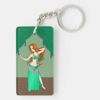 Pretty Auburn Haired Belly Dancer in Green Double-Sided Rectangular Acrylic Key Ring