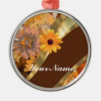 Pretty autumn floral pattern christmas ornament