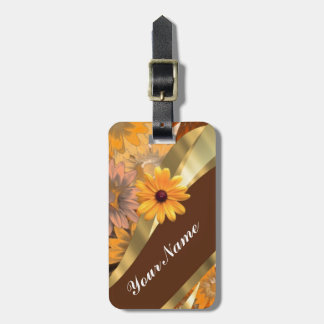 Pretty autumn floral pattern luggage tag