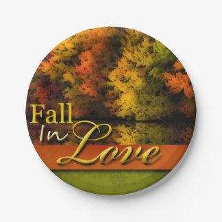 Pretty Autumn Wedding Fall In Love Foliage Photo 7 Inch Paper Plate
