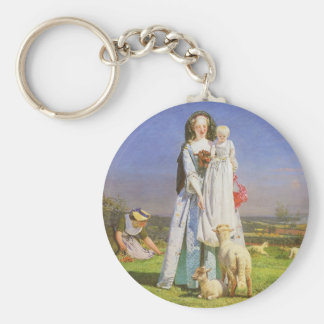 Pretty Baa Lambs by Ford Madox Brown Basic Round Button Key Ring