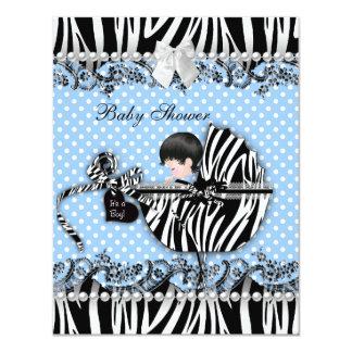 Pretty Baby Shower Zebra Baby Boy Blue Spot Card