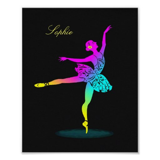 Pretty Ballerina Rainbow Personalised Poster Print