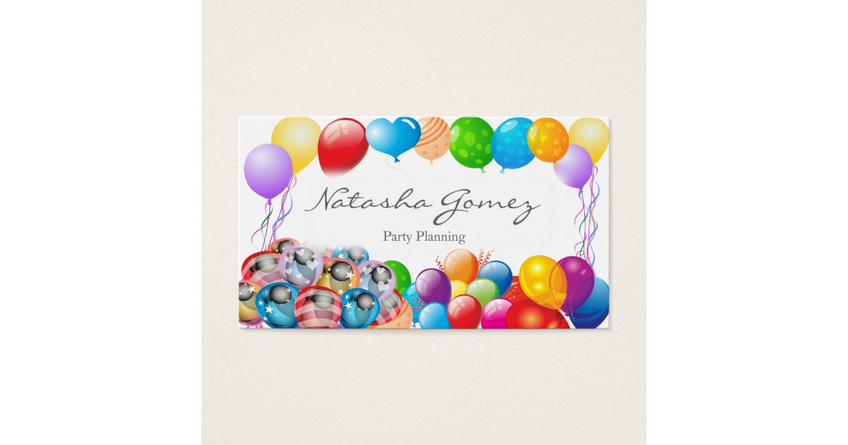 Pretty Balloon, Party Planner - Business Card   Zazzle.co.uk