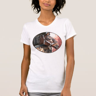 Pretty Bay Horse in a Sunlit Stable T-shirts
